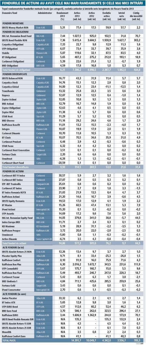 Fondurile mutuale au scris istorie în 2013: randamente cât de cinci ori dobânda bancară şi peste 3,5 mld. lei atrase de la investitori