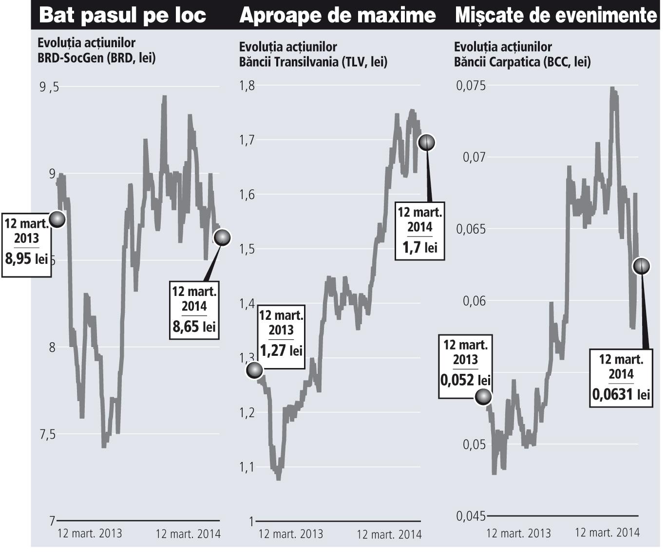 Acţiunile băncilor, un pariu dificil: îşi va reveni BRD? Va fi Carpatica surpriza anului? Va continua creşterea la Transilvania?
