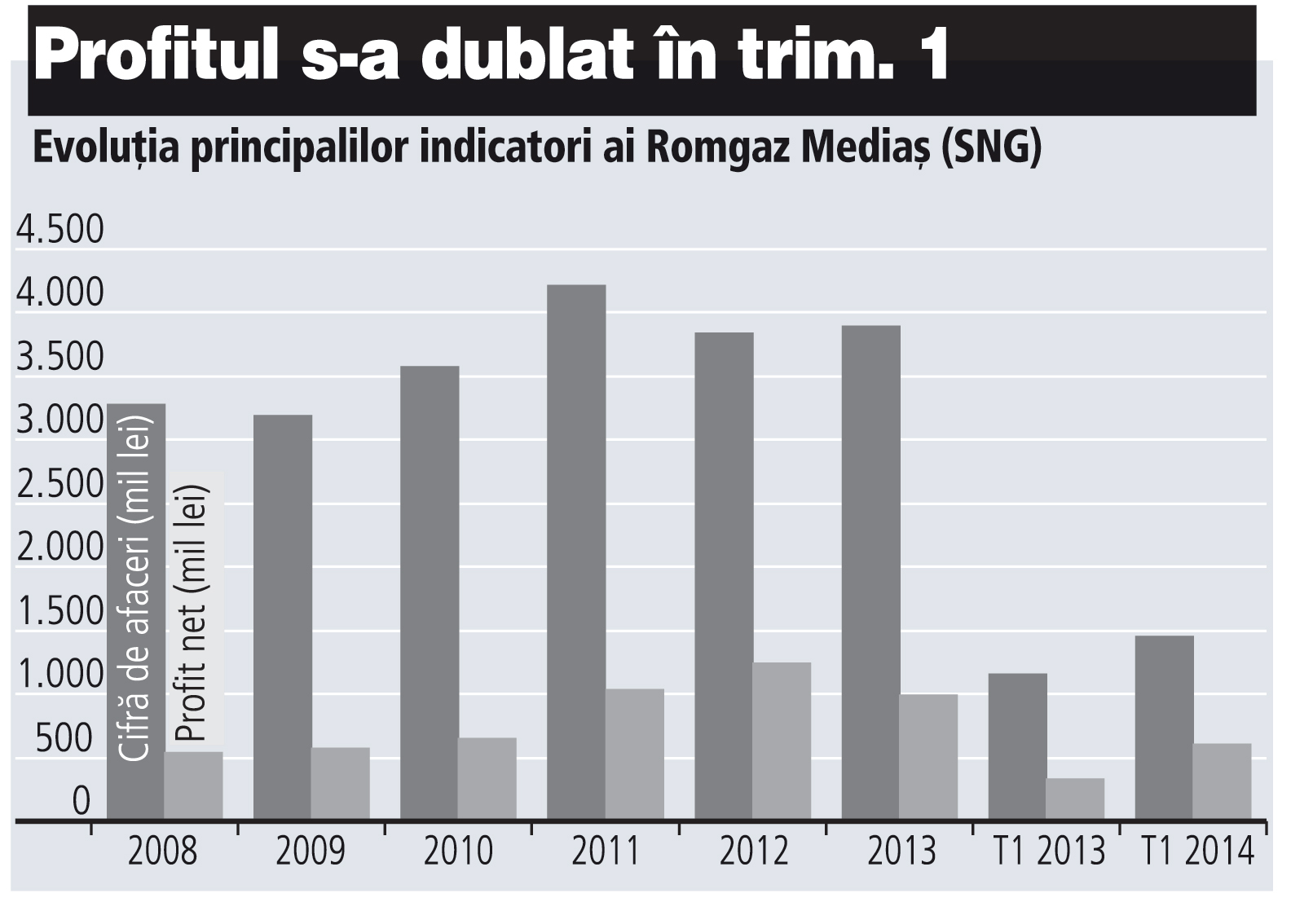 Evoluţia principalilor indicatori ai Romgaz Mediaş (2008-2013)