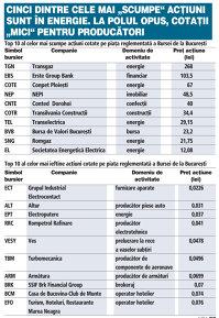 """Topul celor mai """"scumpe"""" şi ale celor mai """"ieftine"""" acţiuni. Firmele din energie din top au şi cele mai mari randamente"""