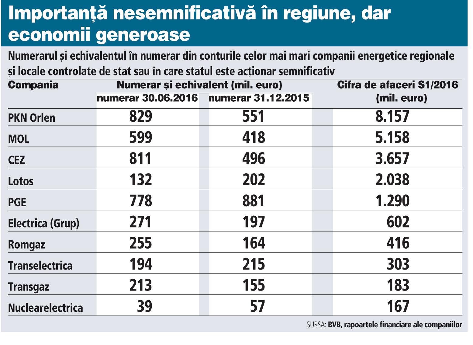 Numerarul şi echivalentul în numerar din conturile celor mai mari companii energetice regionale şi locale controlate de stat sau în care statul este acţionar semnificativ