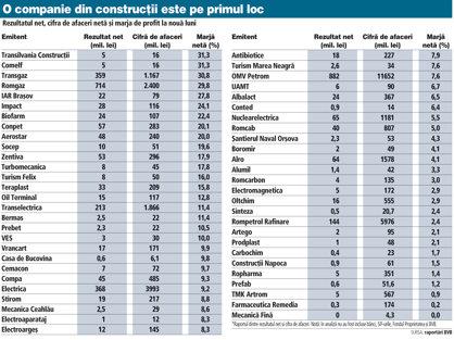 GRAFIC : Rezultatul net, cifra de afaceri netă şi marja de profit la nouă luni