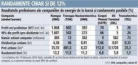 Grafic: Rezultatele preliminare ale companiilor de energie de la bursă şi randamente posibile (%)