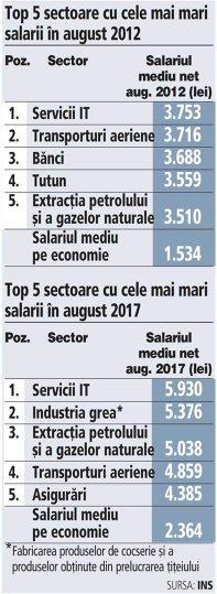 Grafic: Top 5 sectoare cu cele mai mari salarii în august 2012