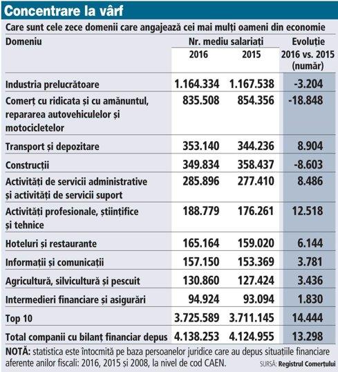 Grafic: Care sunt cele zece domenii care angajează cei mai mulţi oameni din economie
