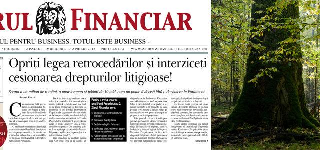 Ziarul Financiar a cerut în aprilie 2013 guvernului Ponta să nu îşi asume răspunderea pentru noua lege a retrocedărilor pentru că sistemul complicat de despăgubire prin video-licitaţii şi achiziţii cu puncte va face ca principalii beneficiari să fie cesionarii de dosare  şi nu foştii proprietari, la fel cum s-a întâmplat şi cu Fondul Proprietatea.