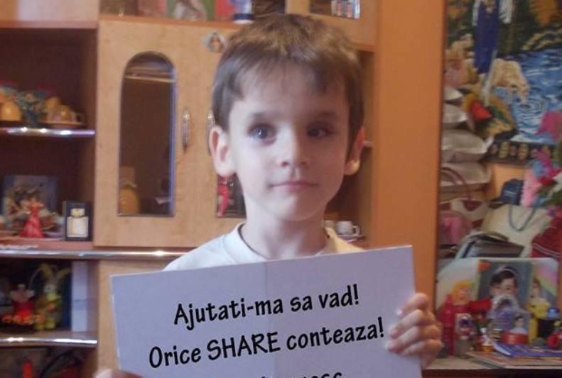 Apel umanitar: Ajutaţi acest copil să vadă