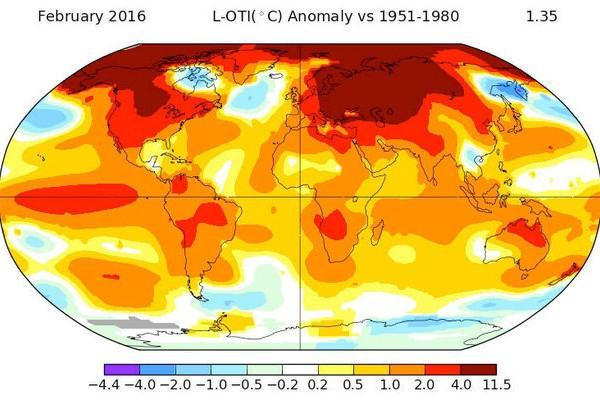 Luna februarie a înregistrat cea mai mare anomalie a temperaturii din istorie