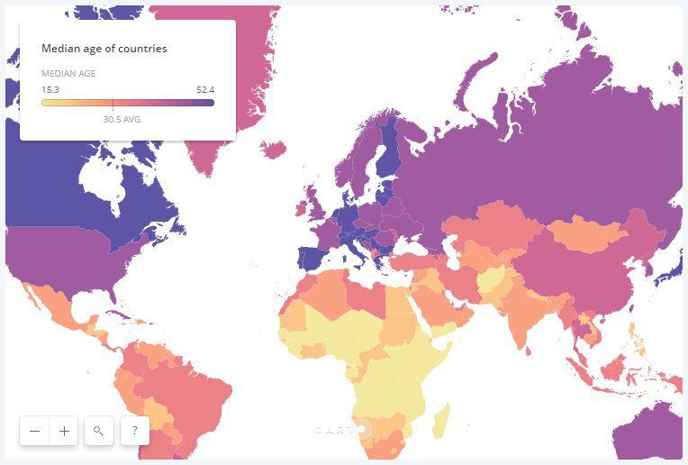 Harta vârstei medii a populaţiei din ţările lumii. Ce loc ocupă România