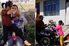 O fetiţă de ŞASE ANI are grijă de tatăl ei PARALIZAT, după ce mama I-A ABANDONAT. Cum a fost numită EROINA de internauţi