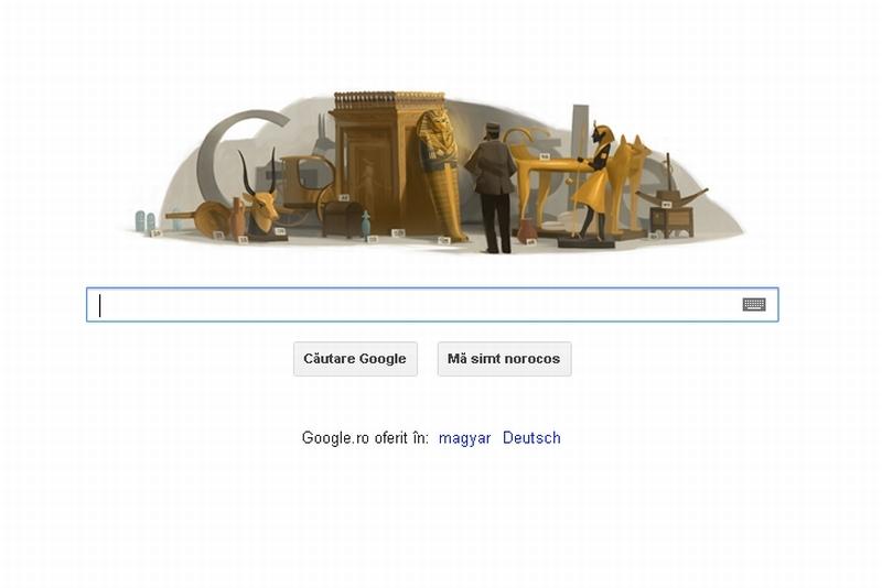HOWARD CARTER, cel mai cunoscut egiptolog, omagiat de GOOGLE printr-un logo special