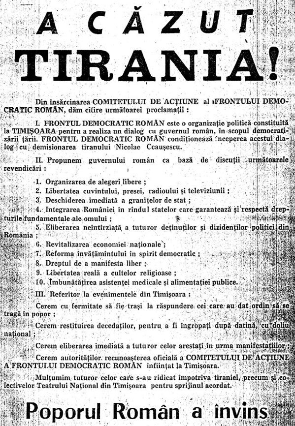 Proclamaţia Frontului Democratic Român din 21 decembrie 1989 din Timişoara