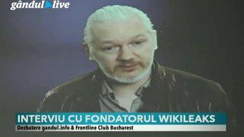 """Dezbatere Gândul-Frontline Club cu Julian Assange: """"România primeşte ce vrea de la Rusia. Şi SUA fac un tip de anexare în România sau alte ţări, anexând sistemele electronice"""""""