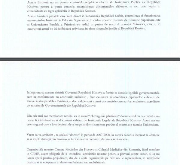 Scrisoarea dr.Pleurat Ejdiu, preşedintele Camerei Medicilor din Kosovo