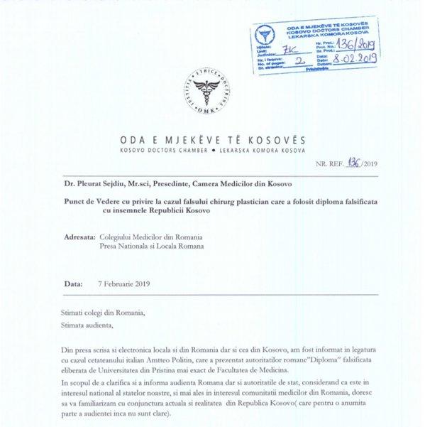 Scrisoarea Camerei Medicilor din Kosovo