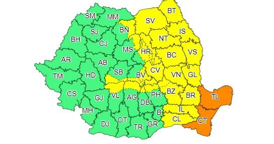 Harta cod galben şi cod portocaliu