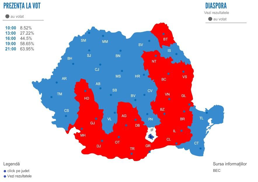 REZULTATE ALEGERI PREZIDENŢIALE 2014. HARTA votului în România. Cum şi-au împărţit ţara Klaus Iohannis şi Victor Ponta