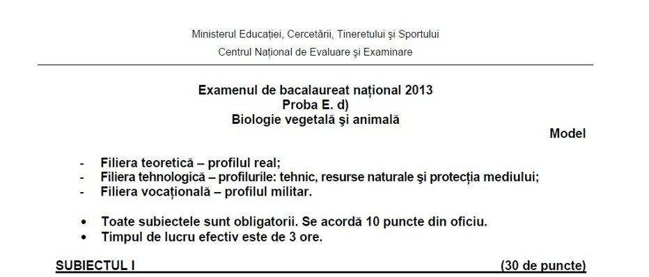 BACALAUREAT 2013. Subiecte  BAC 2013 – proba scrisă de Biologie