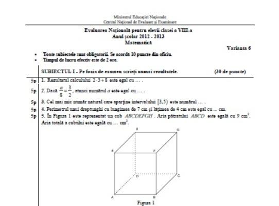 EVALUARE NAŢIONALĂ 2013. Subiecte la matematică date la sesiunea pentru olimpici