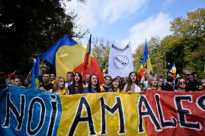 Mii de oameni au participat în Capitală la un marş pentru unirea României cu Republica Moldova