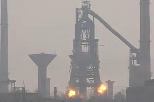 Elemente ale fostului Furnal 6 de la Combinatul ArcelorMittal Galaţi, demolate controlat