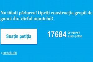 Opriţi construirea gropii de gunoi din vârful muntelui! Susţineţi petiţia Gândul! Mii de români cer stoparea dezastrului ecologic din inima Bucovinei