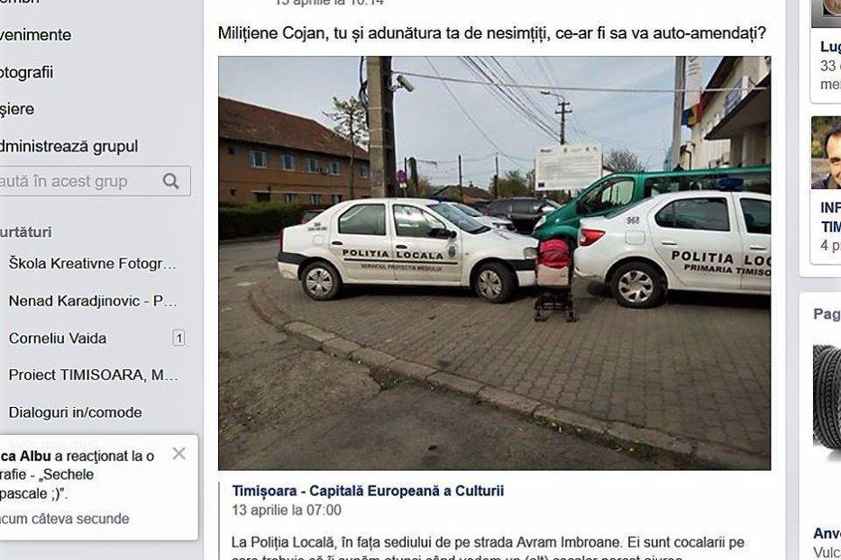 """Timişorean care a pozat maşini ale Poliţiei parcate greşit, amendat cu 900 de lei pentru că i-a făcut pe agenţi """"nesimţiţi"""""""