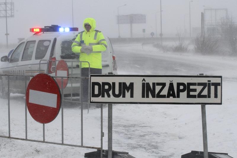 9 drumuri naţionale închise din cauza zăpezii