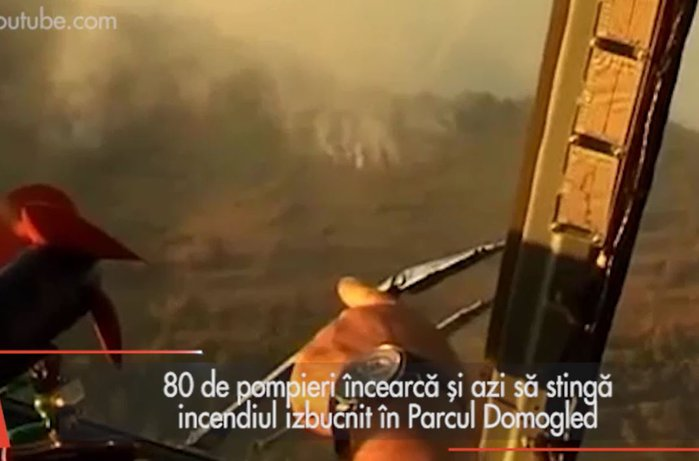 Incendiul izbucnit în Parcul Domogled nu a fost încă stins