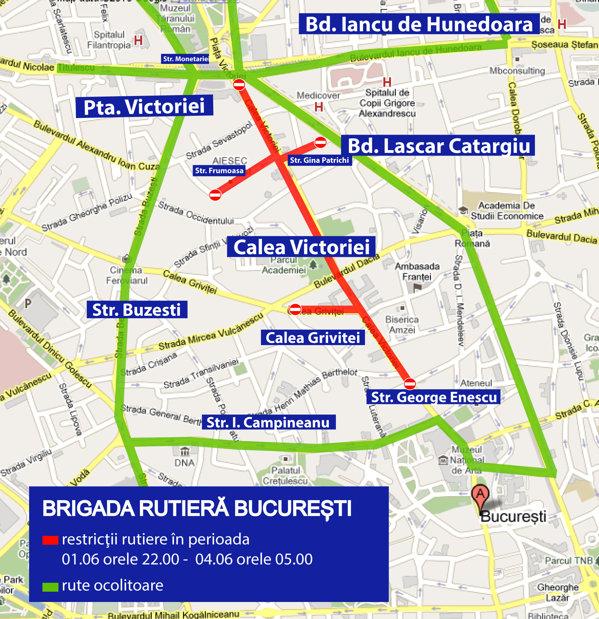 """harta restrictiilor de circulatie impuase de festivalul """"La pas pe Calea Victoriei"""""""