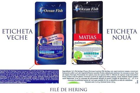 File de hering vândut la Mega Image ca somon de Ocean Fish SRL