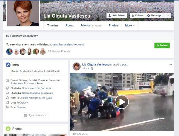 Lia Olguța Vasilescu pagina de Facebook