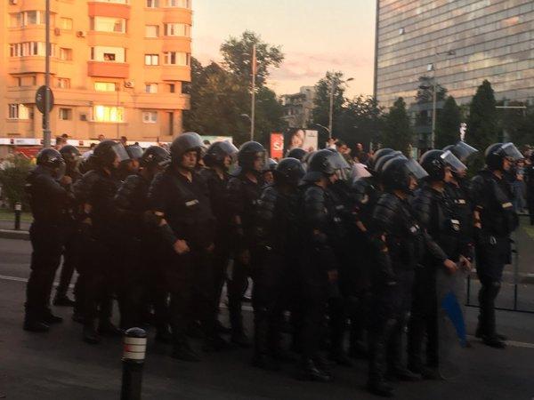 Jandarmi pregătiți de intervenție la Mitingul Diasporei 10 august 2018