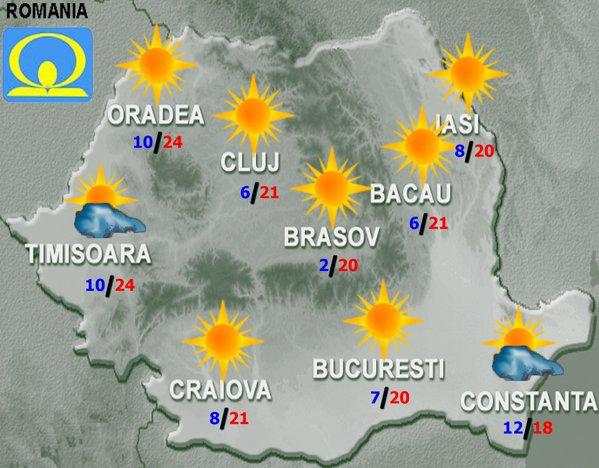 Harta cu prognoza meteo