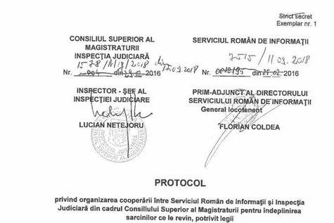 Inspecţia Judiciară publică PROTOCOLUL CU SRI. IJ: Nu am cerut sau transmis informaţii Serviciului. Toni Neacşu: Am ajuns MAHALAUA statului de drept