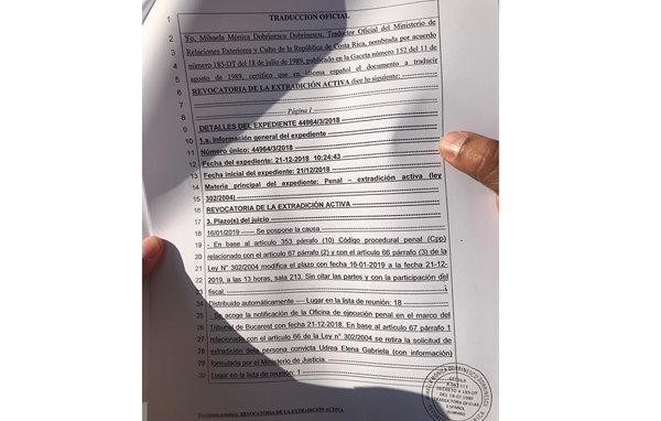 Traducerea oficială a revocării cererii de extrădare
