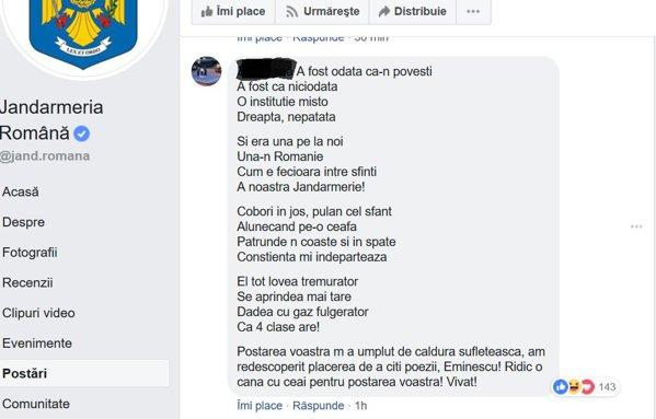 """Jandarmeria, ironizată pe """"versuri"""" de Eminescu"""