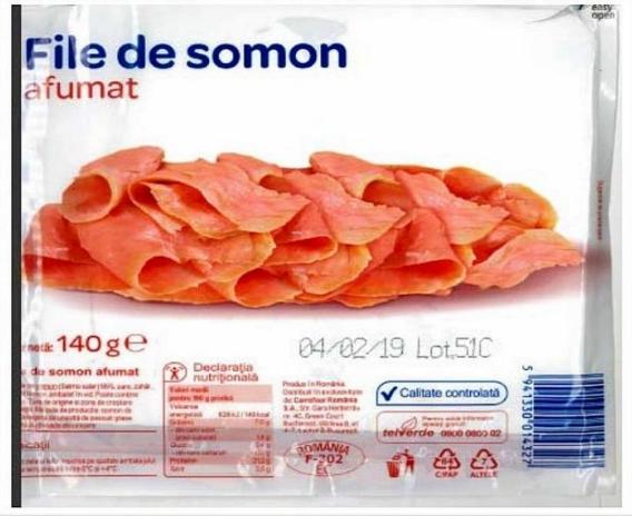 Un tip de file somon afumat, retras de la comercializare din Carrefour