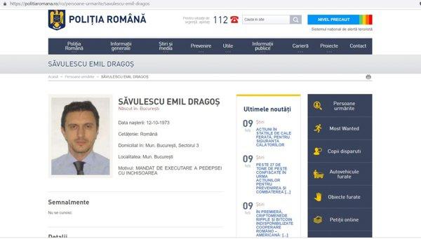 Dragoş Săvulescu, dat în urmărire internaţională