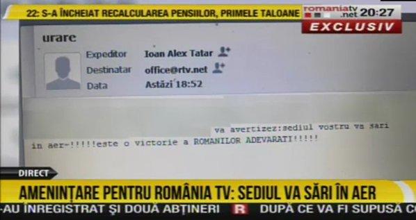 Mesajul trimis prin mail de Alexandru Tătar
