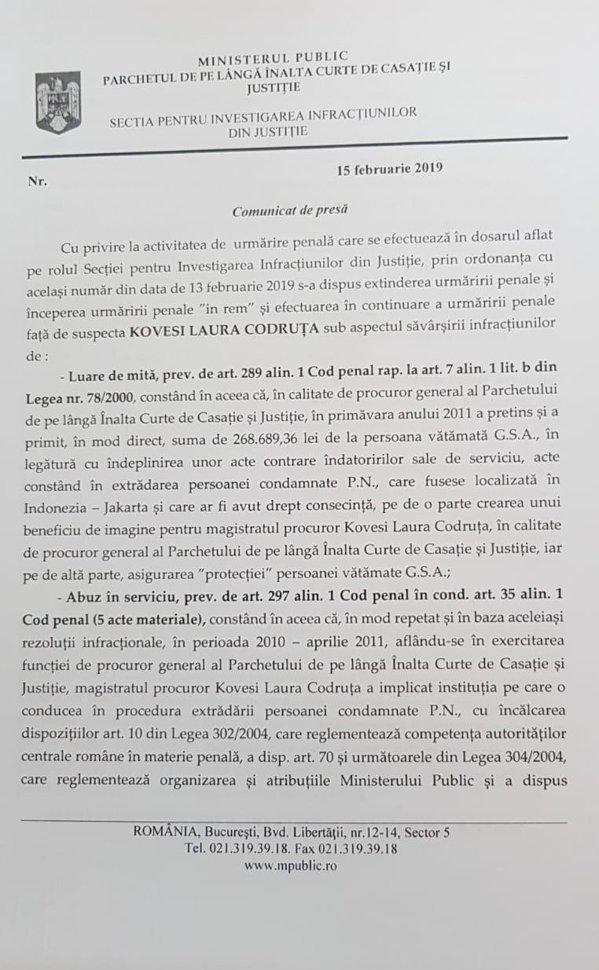 Comunicatul Secţiei pentru Investigarea Infracţiunilor în Justiţie