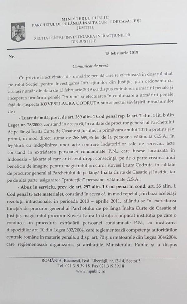 Comunicatul Secției pentru Investigarea Infracțiunilor în Justiție