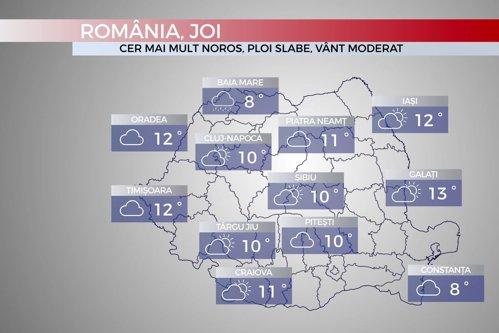 VREMEA 14 martie: Temperaturi normale pentru această perioadă. Zonele în care va ploua