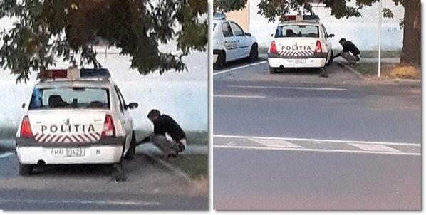 dezumfla roțile mașinilor de poliție