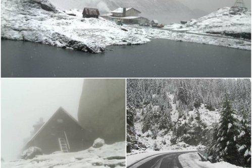 Peisaj de vis pe Transfăgăraş: Ninge de câteva ore iar stratul de zăpadă ajunge deja la 10 centimetri - VIDEO
