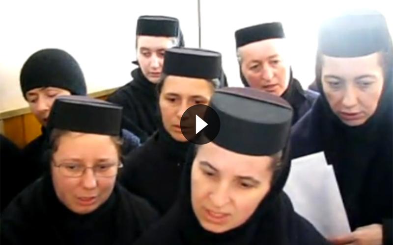 """Măicuţele de la Mănăstirea """"Petru Vodă"""" din Piatra Neamţ îi cântă """"Sfânta tinereţe legionară"""" părintelui Justin Pârvu. VIDEO"""