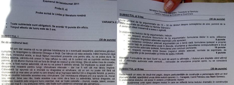 BACALAUREAT 2011, subiecte la limba şi literatura română: descarcă de aici VARIANTA INTEGRALĂ a probei de astăzi