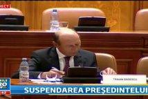 SUSPENDAREA PREŞEDINTELUI. Traian Băsescu, înainte de a pleca din Parlament: