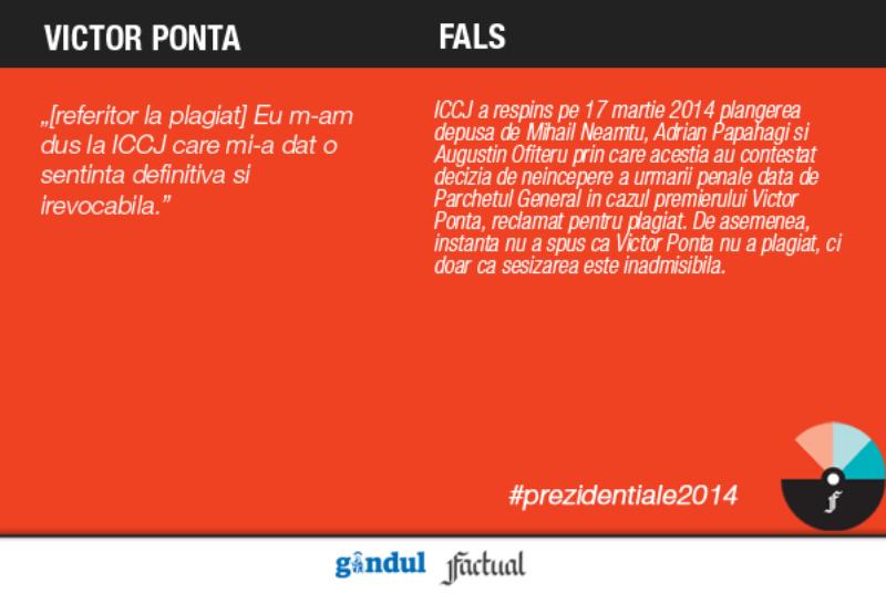 Gândul şi Factual.ro au făcut BAROMETRUL ADEVĂRULUI în dezbaterea Ponta-Iohannis. Victor Ponta: Înalta Curte mi-a dat o sentinţă definitivă că nu am plagiat - FALS!