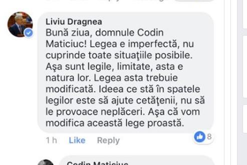 """După ce a primit un mesaj pe Facebook de la """"Poponeţ"""", Liviu Dragnea a anunţat modificarea unei """"legi proaste"""""""